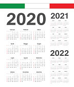 Set of Italian 2020, 2021, 2022 year vector calendars.