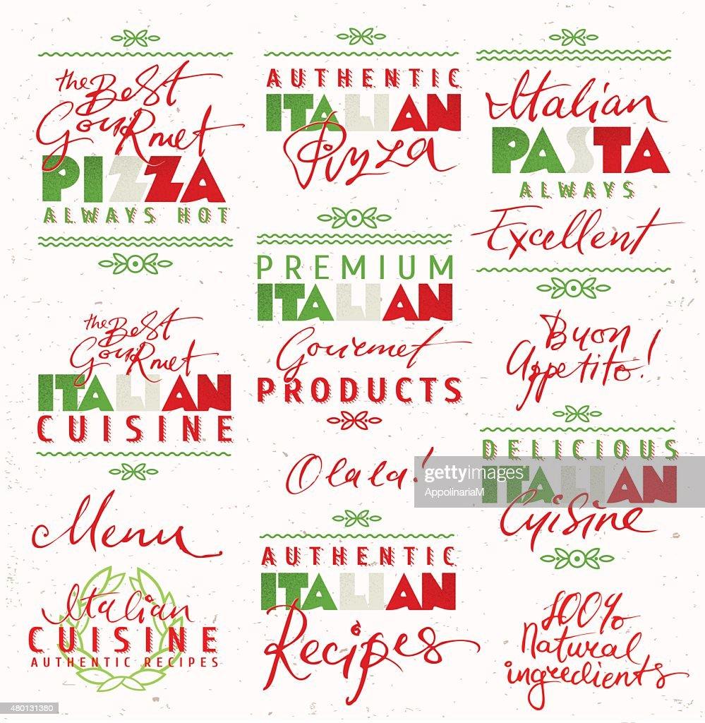 Set of Italian Food Labels