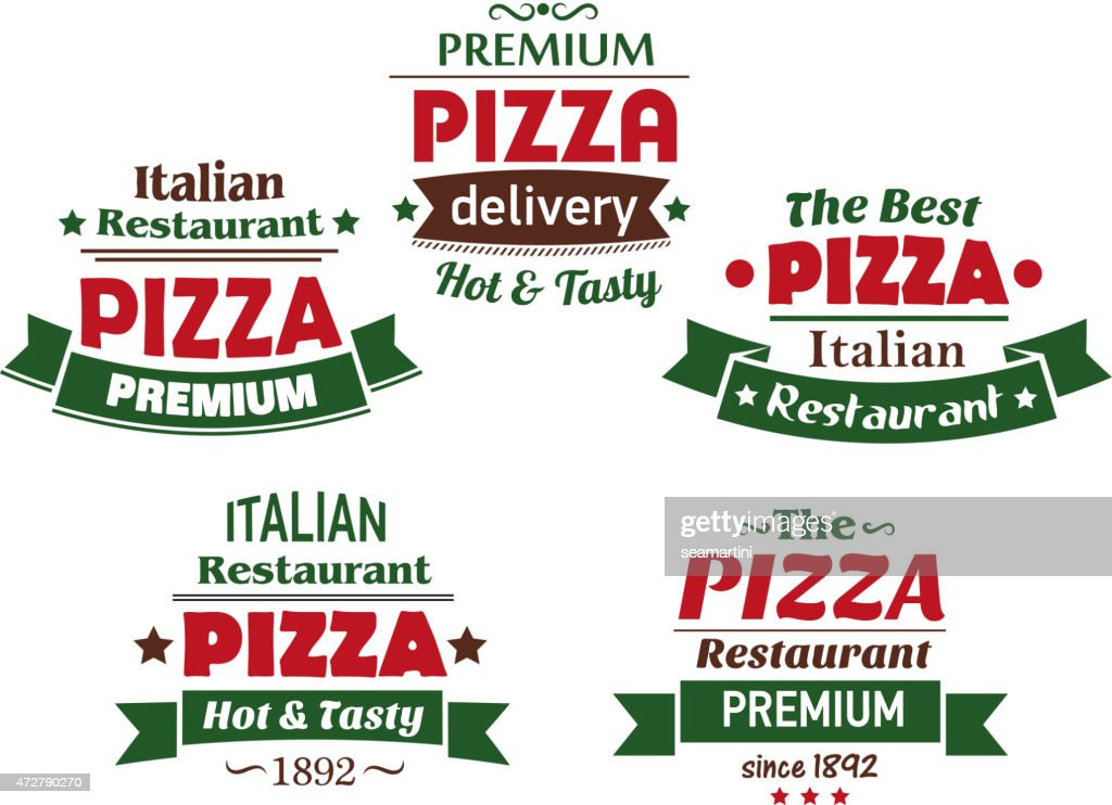 Set of  italian pizza labels