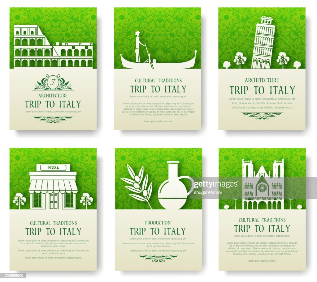 Set of Italy country ornament illustration concept.