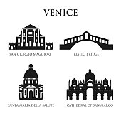 Set of Italy symbols, landmarks in black and white. Vector illustration. Venice, Italy.