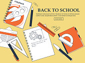 Set of items back to school on a yellow background