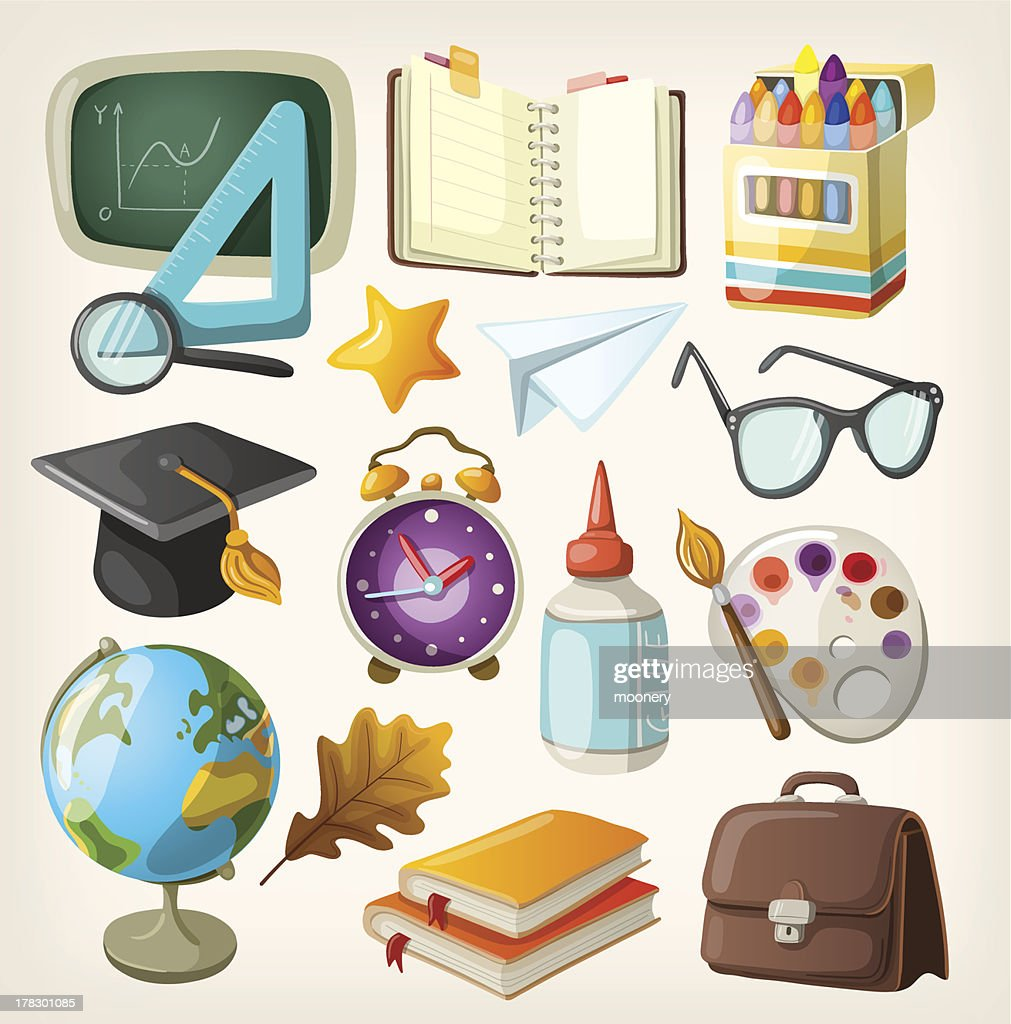 Set of items for education. Back to school