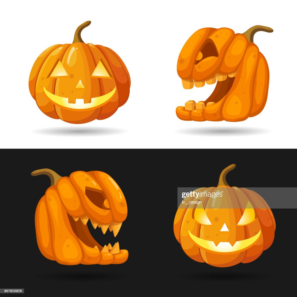 Set of Jack o Lantern heads with burning candles. Halloween pumpkin characters with different face expressions isolated on black and white background. Vector illustration. Realistic style