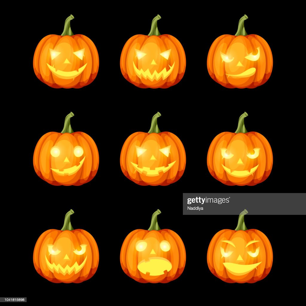 Set of jack-o'-lanterns (Halloween pumpkins). Vector eps-10.