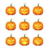 Set of jack-o'-lanterns (Halloween pumpkins). Vector eps-10.