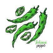 set of jalapeno peppers