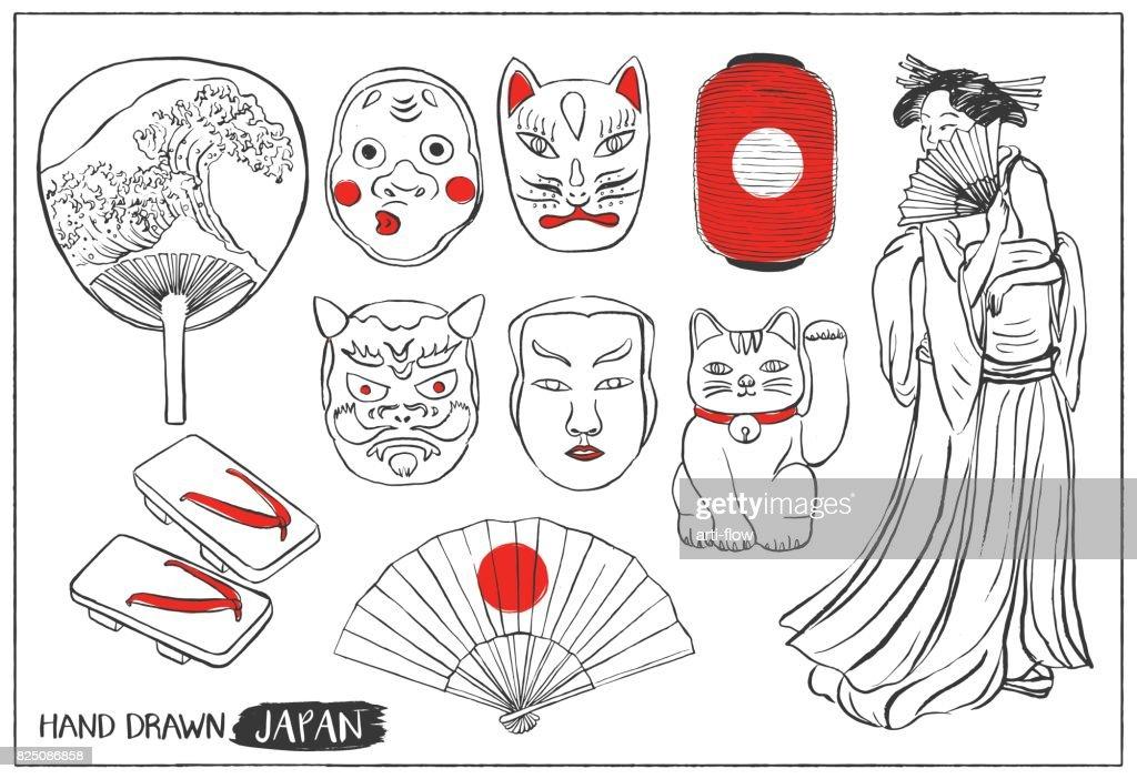 Set of Japan design elements. Hand drawn vector illustration.