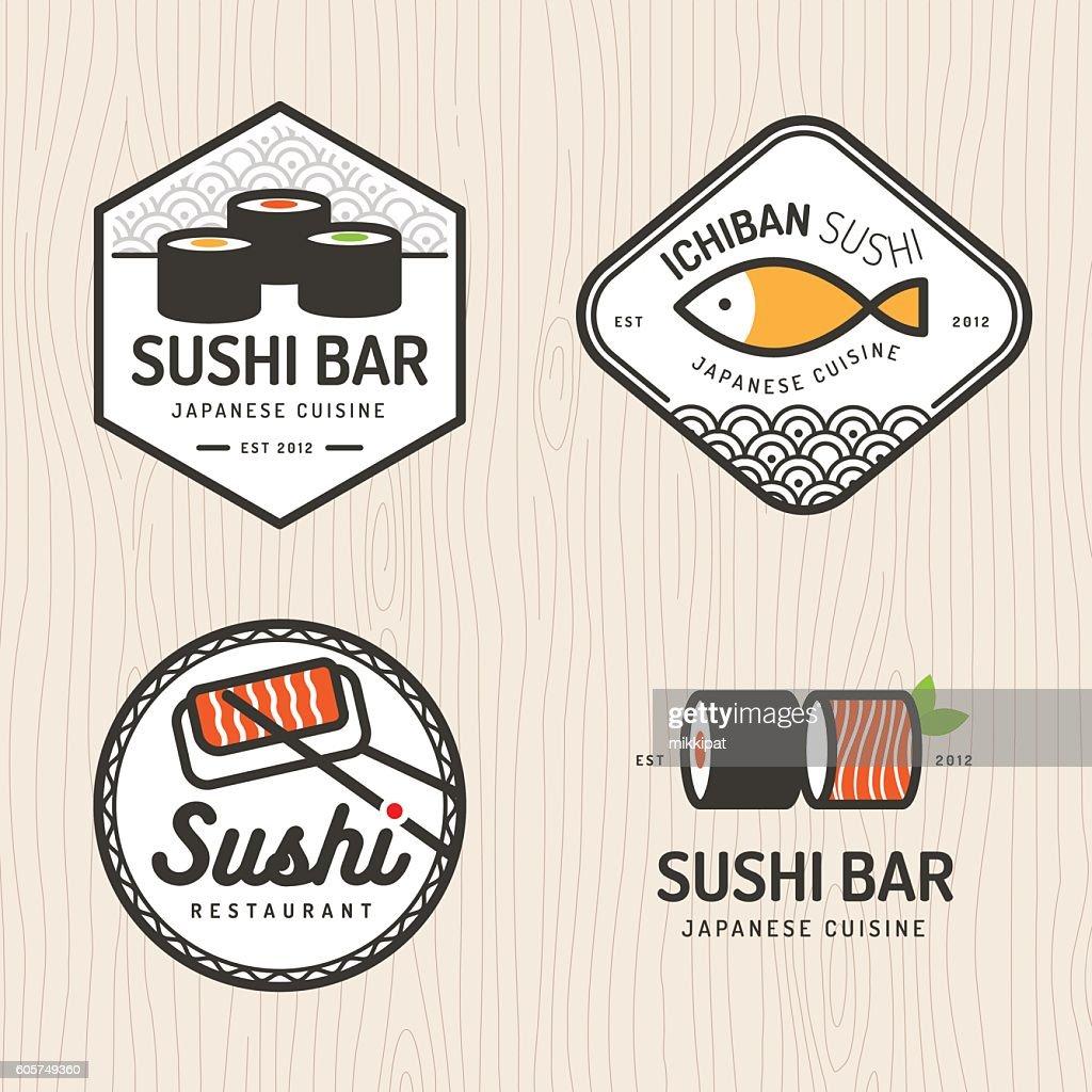 Set of japanese food logo, badges  for asian food restaurant.