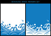 Set of Japanese traditional seamless wave patterns.
