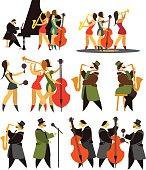 set of jazz bands