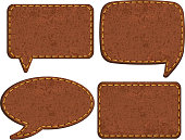 Set of jeans leather labels.
