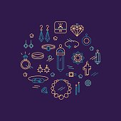 Set of jeweler linear icons.