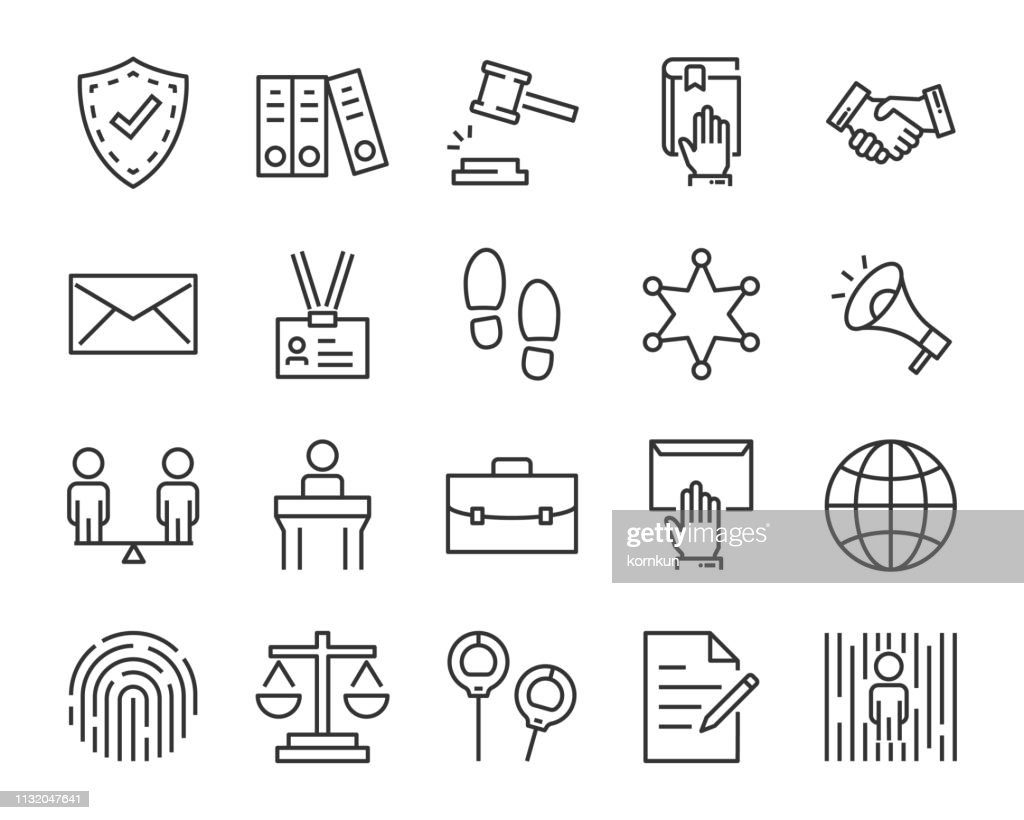 set of juctice icons, such as law, lawyer, work, legal, secure