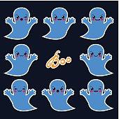 set of kawaii halloween ghosts