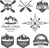 Set of kayak and canoe emblems, badges and design elements