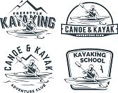 Set of kayak and canoe emblems
