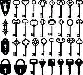 Set of keyholes, keys and locks icons.