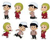 Set of kid muslim people doing activities.vector and illustratio