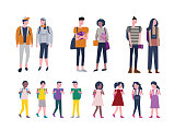 Set of kids and Young people back to school. Student Character design. vector illustration