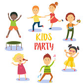 Set of kids, children having fun at birthday party