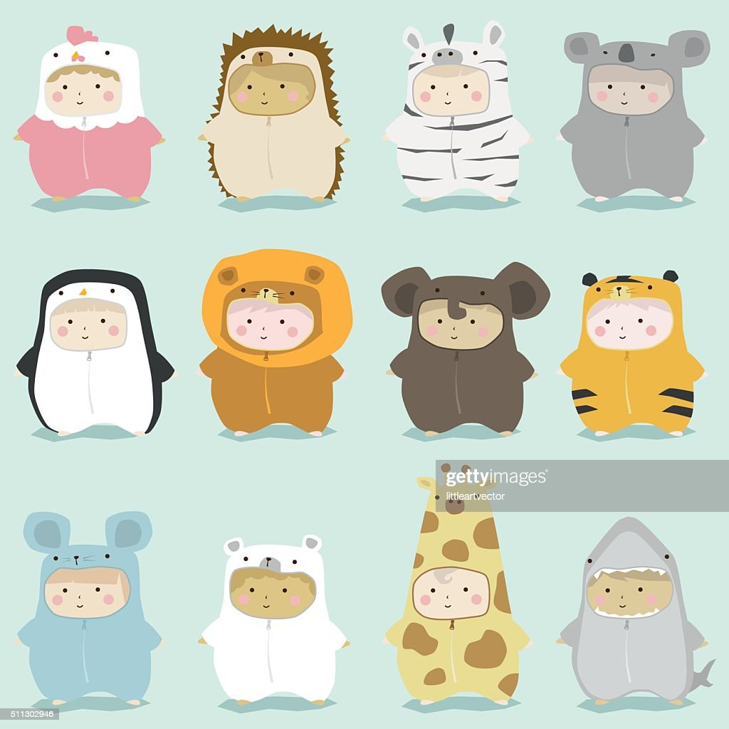 Set of kids in cute animal costumes 2