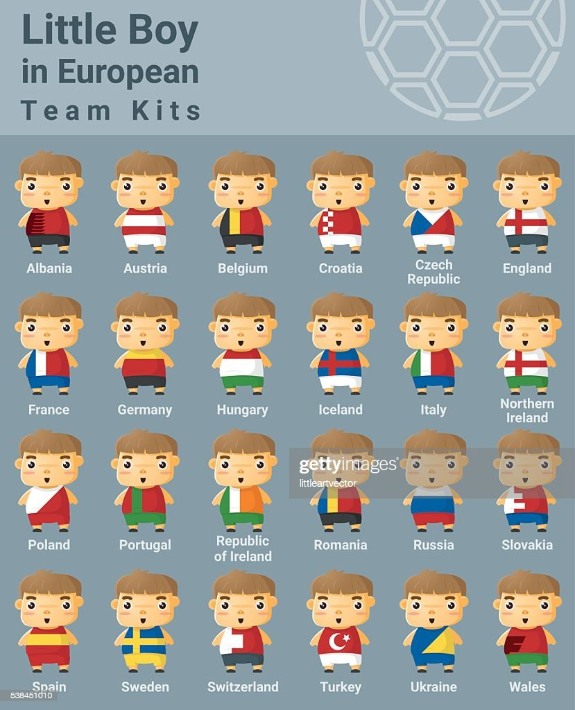 Set of kids in European sport team kits