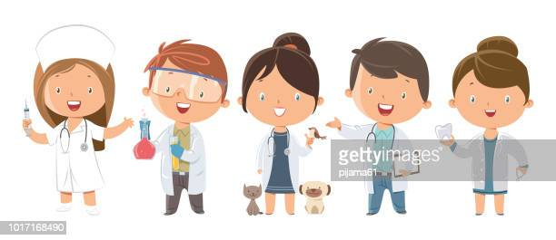 set of kids medicine and healthcare professions - traditional clothing stock illustrations
