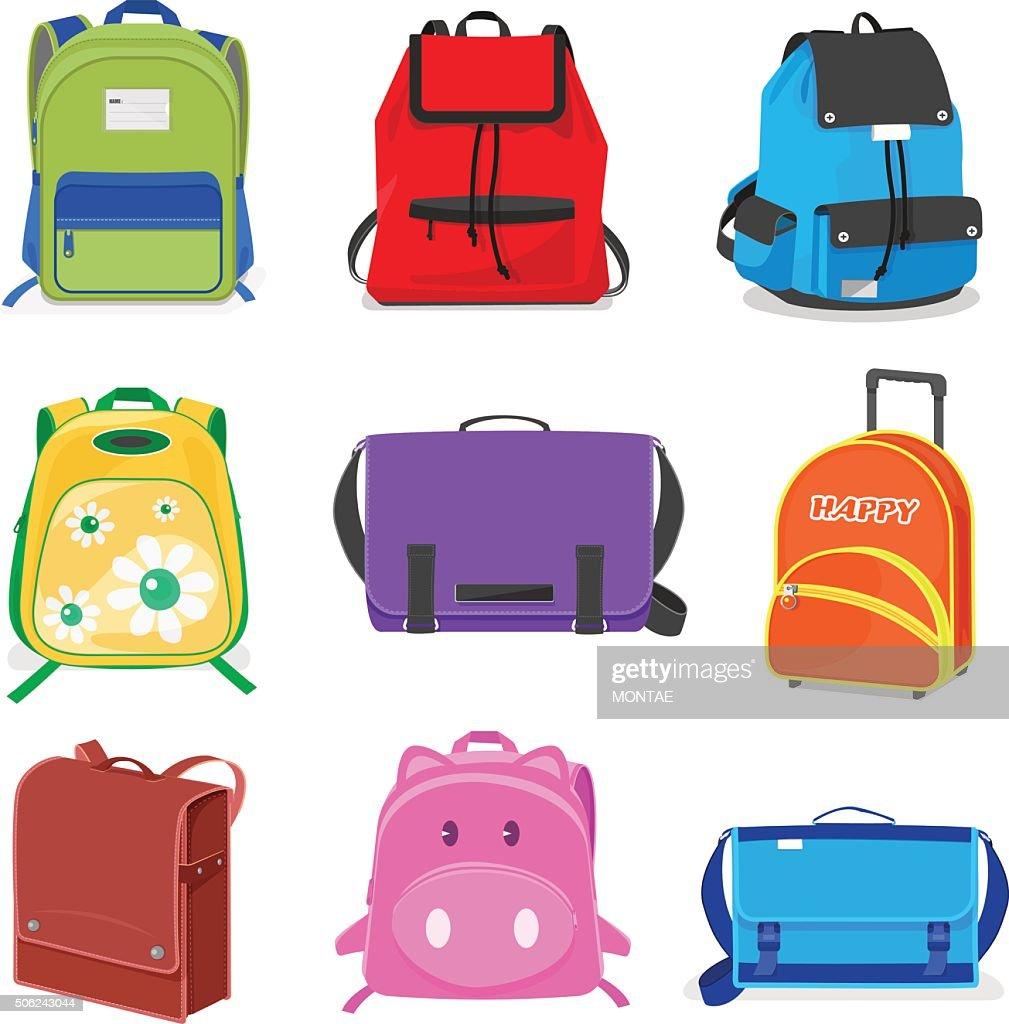 set of kids school bags isolated