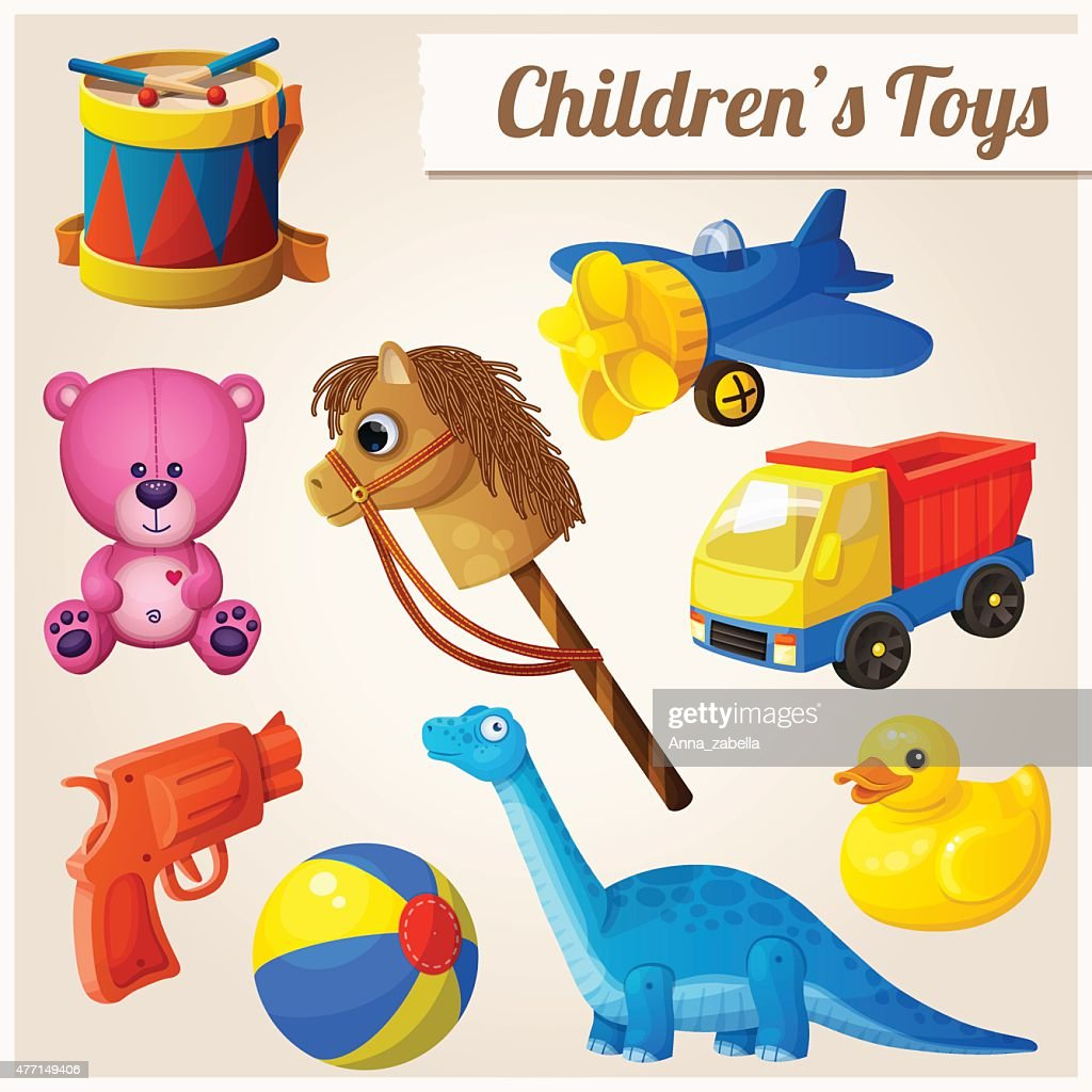 Set of kid's toys. Cartoon vector illustration