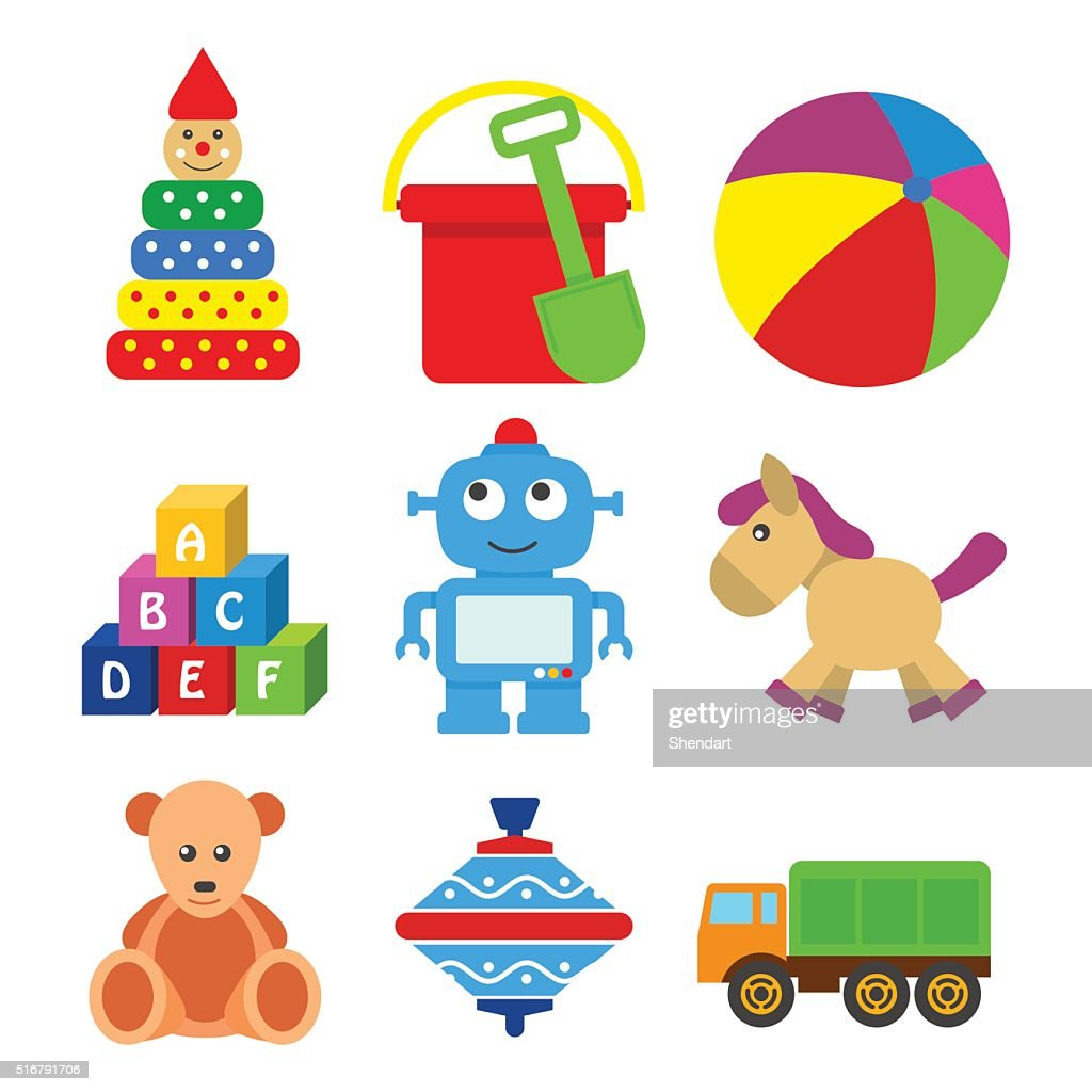 set of kids toys in a flat style.