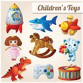 Set of kid's toys. Part 2. Cartoon vector illustration
