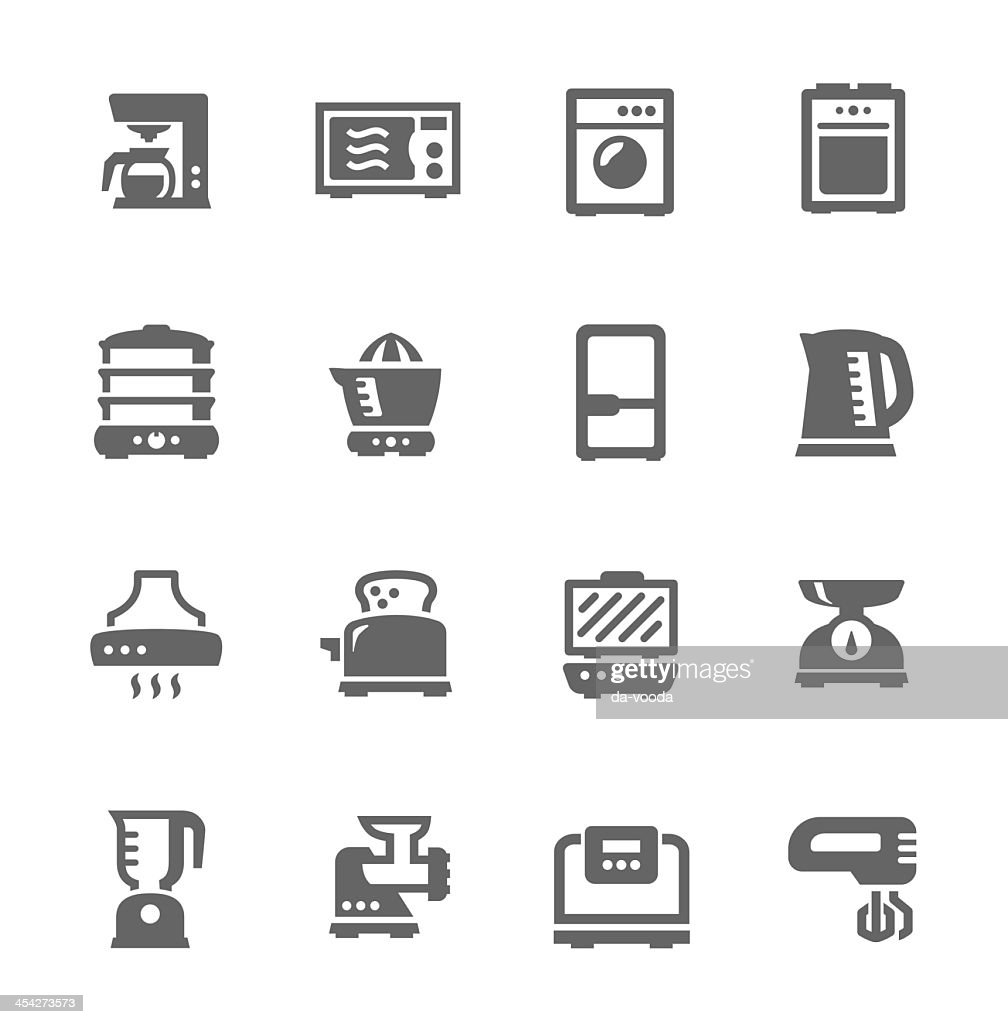 A set of kitchen appliance icons on an off-white background