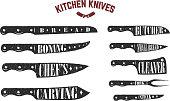 Set of kitchen knives. Butcher knives on white background. Vector illustration