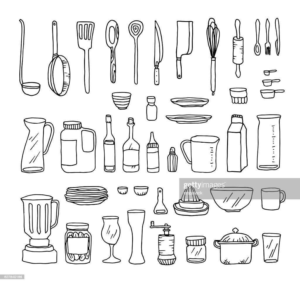 Set of kitchen objects vector line illustration