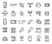 Set of kitchen thin line icons.