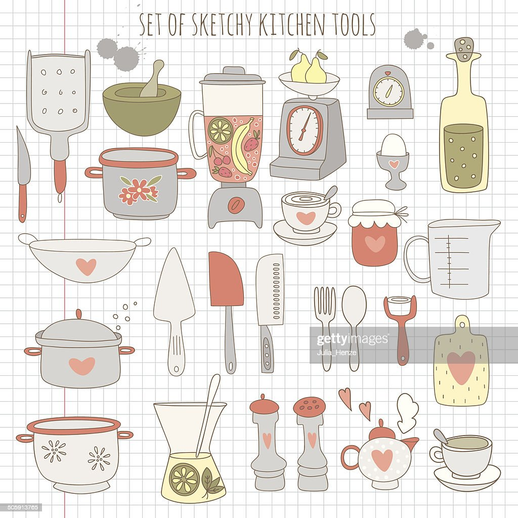 Set of kitchen tools on notebook paper