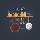 Set of kitchen utensils.