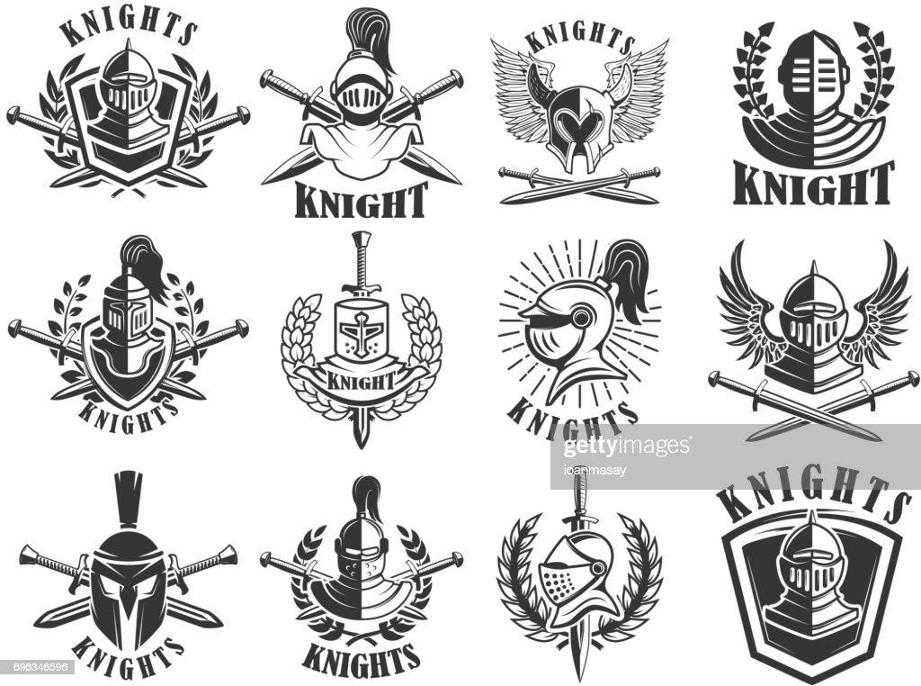 Set of knight emblems. Design elements for label, emblem, sign, badge. Vector illustration