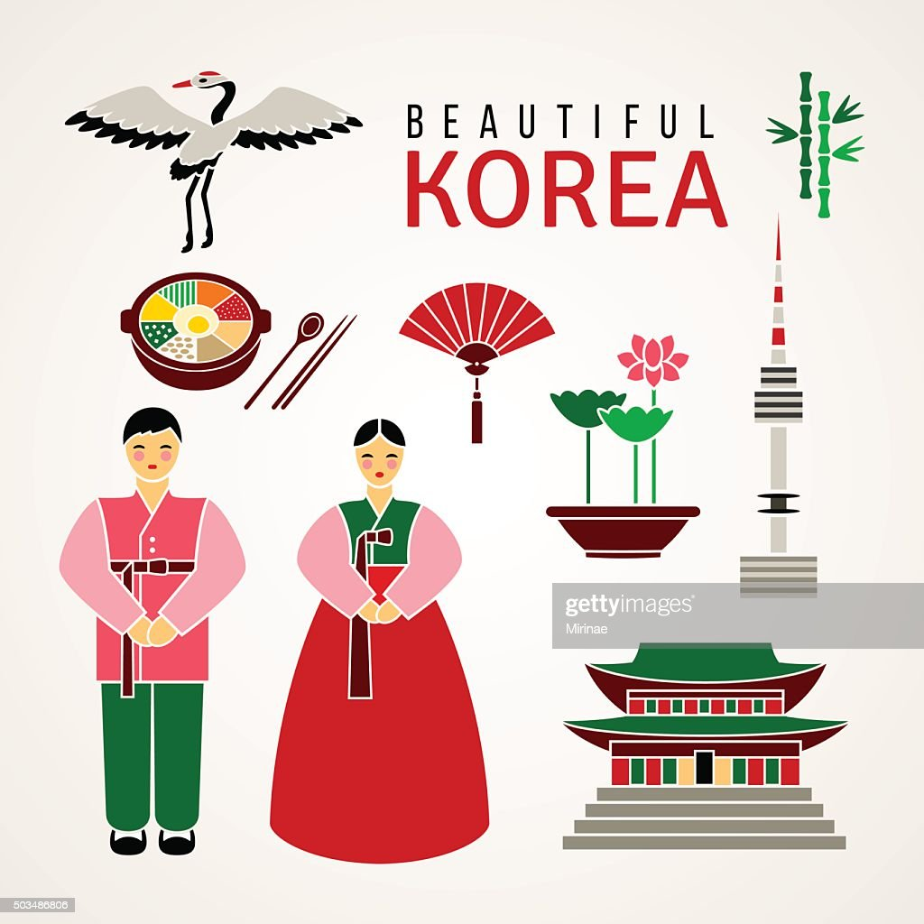 Set of Korean cultural symbols. Vector.