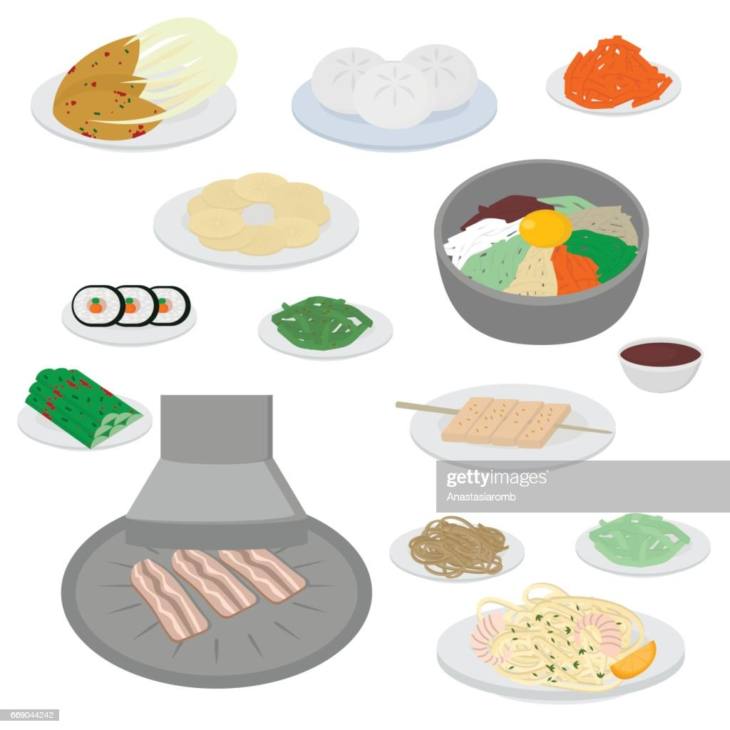 Set Of Korean Food Flat Design Elements Asian Street Food Menu Traditional Dish Kimchi