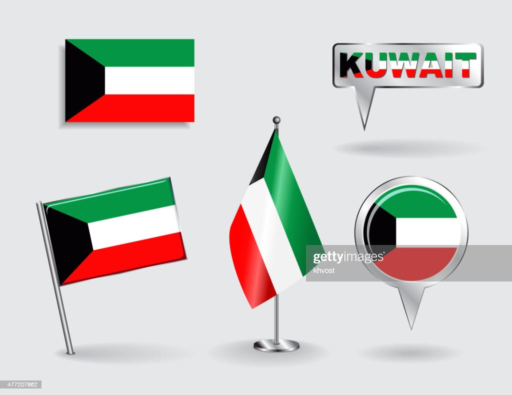 Set of Kuwait pin, icon and map pointer flags. Vector