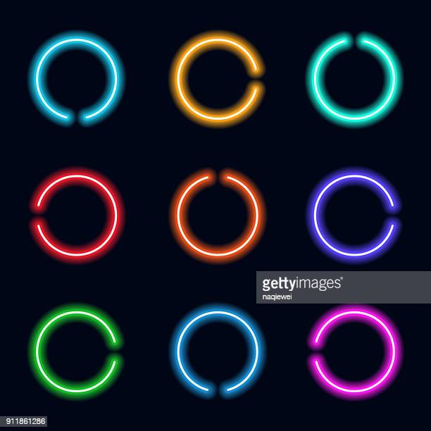 set of l noen circle icon - glowing stock illustrations