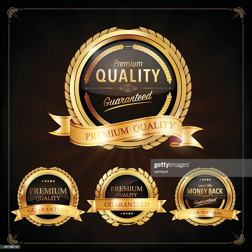 Set of Label with gold elements,Vector EPS10.