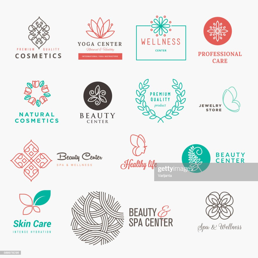 Set of labels and badges for beauty, cosmetics, spa and wellness