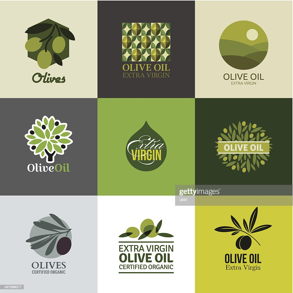 Set of labels and emblems with olive branch