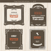 set of labels and frames in Western style isolated for design