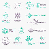 Set of labels and stickers for beauty, natural products, healthcare
