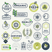 Set of labels and stickers for organic food and drink, and natural products