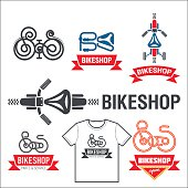Set of labels for a bicycle shop